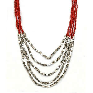 Java Draping Beaded Necklace - Red