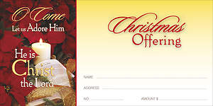 Christmas O Come Let Us Adore Him Offering Envelope (Package of 100)