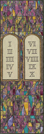 Symbols of Faith Series Stained Glass Ten Commandments Banner 2'x6'