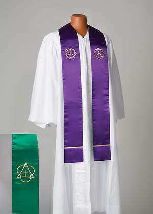 Satin Reversible Purple/Green Chest High Embroidered Symbol Stole