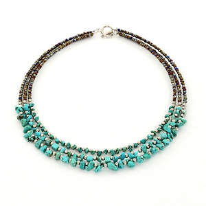 Java Choker Necklace - 3-strand Turquoise