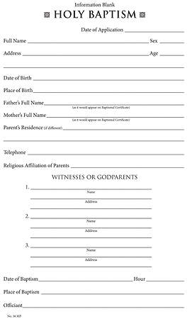 Baptismal Information Form Download