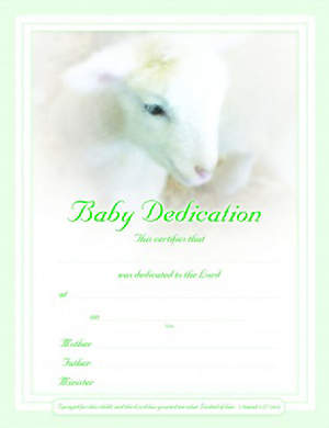 Certificate Baby Dedication Lamb Package of 6