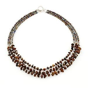 Java Choker Necklace - 3-strand Tigers Eye
