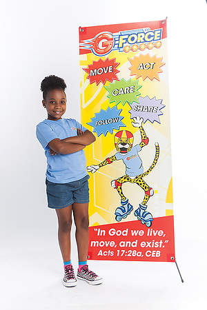 Vacation Bible School (VBS) 2015 G-Force VBS Theme Banner and Stand Combo