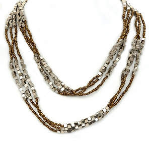 Java Bead and Metal Multi-layer Necklace - Bronze