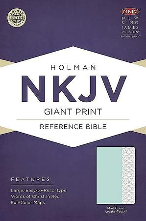 NKJV Giant Print Reference Bible, Mint Green Leathertouch