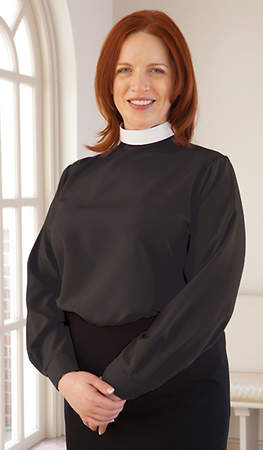 Microfiber Long Sleeve Clergy Blouse with Neckband