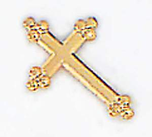 Budded Cross Gold Lapel Pin