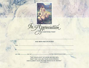 Certificate In Appreciation Good Shepherd Matthew 5:16 Package of 6