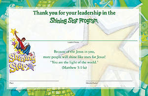 Vacation Bible School (VBS) 2015 Shining Star Leader Certificates (Pkg of 10)