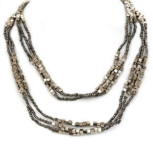 Java Bead and Metal Multi-layer Necklace - Platinum