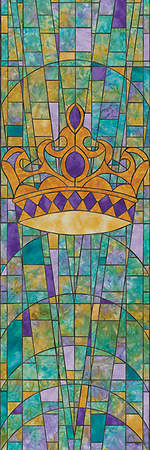 Symbols of Faith Series Stained Glass Crown Banner 2`x6`