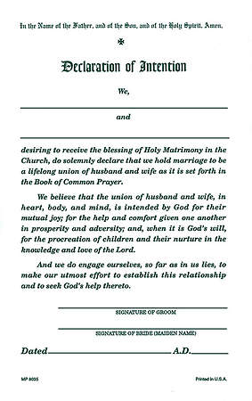 Declaration of Intention of  Marriage (Package of 50)