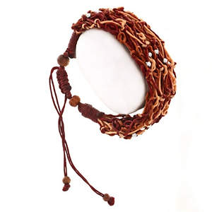 Thai Braided String Coconut Bracelet - Brown