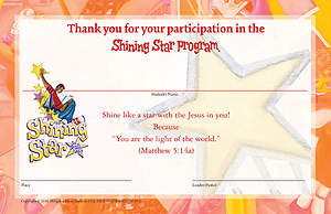 Vacation Bible School (VBS) 2015 Shining Star Student Certificates (Pkg of 25)