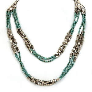 Java Bead and Metal Multi-layer Necklace - Turquoise