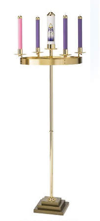 Bright Finish Ring Solid Brass Advent Wreath with Square Base