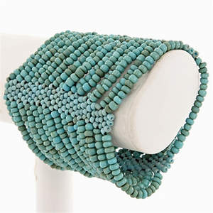 Java Beaded Cuff Bracelet - Stretchy  Blue