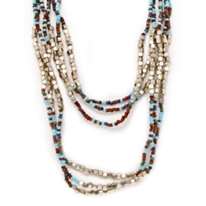 Java Bead and Metal Multi-layer Necklace - Bronze and Turquoise