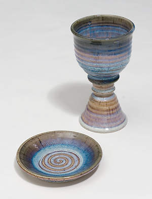 Earthenware Chalice and Paten Set, Multi-Colored