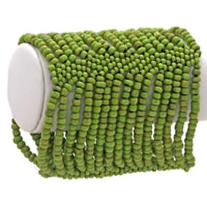 Java Beaded Cuff Bracelet - Stretchy  Lime