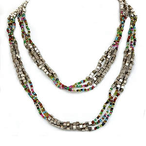 Java Bead and Metal Multi-layer Necklace - Multi-color