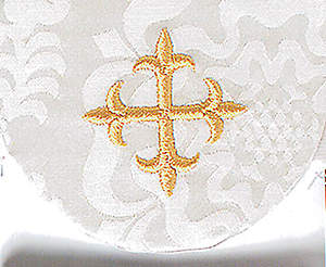 Pocket Usher Badge with Cross on White Bermberg Damask (package of 4)