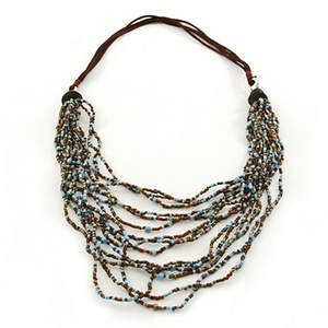 Java Glass Bead Necklace - Turquoise and Bronze