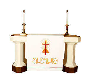 Vision Series Easter White Altar Antependia with Alleluia and Cross with Sunburst