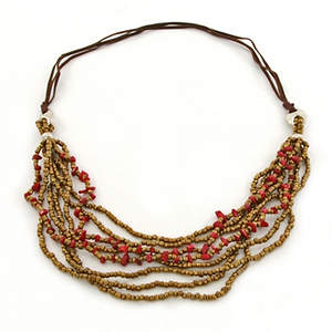 Java Beaded Long Necklace - Bronze and Red
