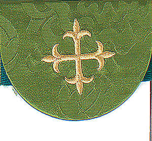 Pocket Usher Badge with Cross on Green Bermberg Damask (package of 4)