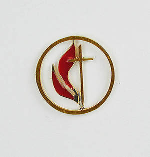 Cross and Flame Cutout Gold Lapel Pin 1/2