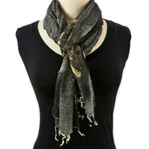 Java Batiked Cotton Scarf - Black