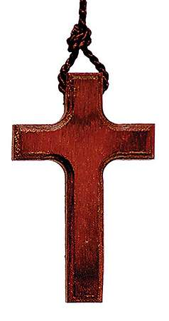 "Wood Cross 2 1/2"" on 30"" Cord Pendant"