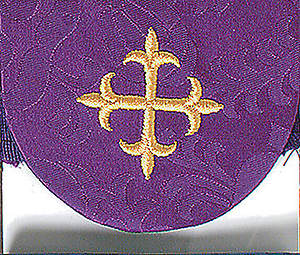 Pocket Usher Badge with Cross on Purple Bermberg Damask (package of 4)
