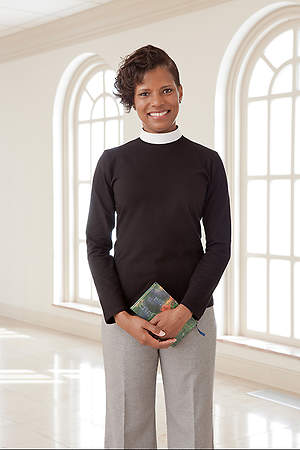 Blouse Clergy Knit Long Sleeve Neckband Collar