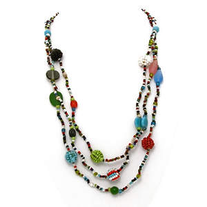 Java Triple Layer Beaded Necklace - Multi-color