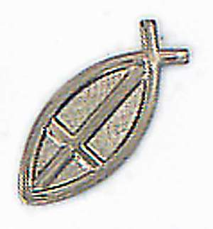 Fisherman`s Cross Silver Lapel Pin