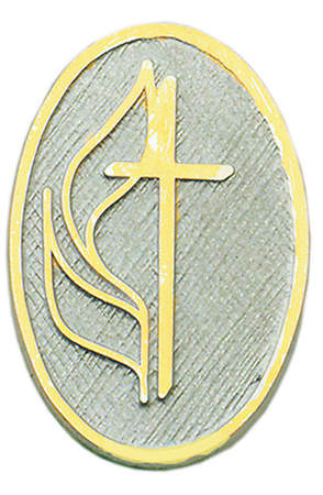 Cross & FLame Lapel Pin Oval Two Tone - United Methodist