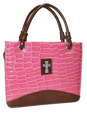 Purse with Silver Cross Croc Embossed Large Pink Bible Cover