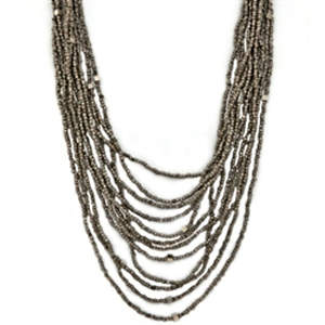 Java Beads and Metal Necklace - Platinum