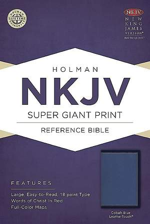 NKJV Super Giant Print Reference Bible, Cobalt Blue Leathertouch