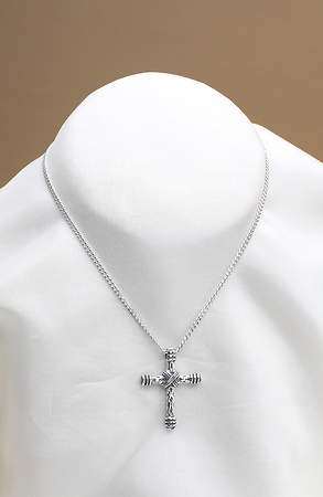 Necklace Cross Banded Textured Wrap Sterling Silver Curb Chain 20 Inch