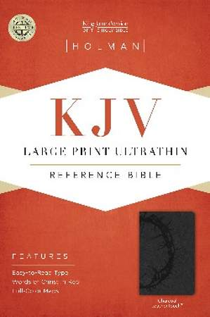 KJV Large Print Ultrathin Reference Bible, Charcoal Leathertouch