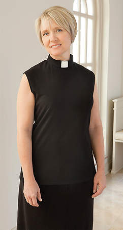 Clergy Blouse Sleeveless Knit, Tab Collar