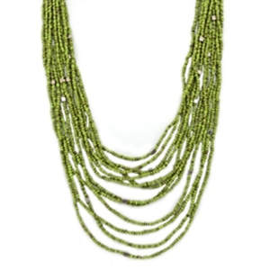 Java Beads and Metal Necklace - Lime