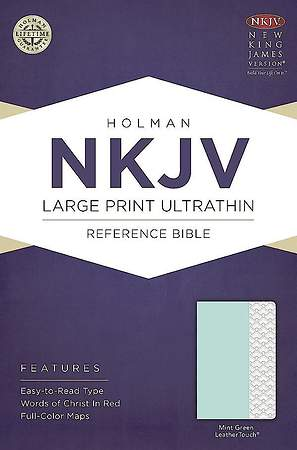 NKJV Large Print Ultrathin Reference Bible, Mint Green Leathertouch