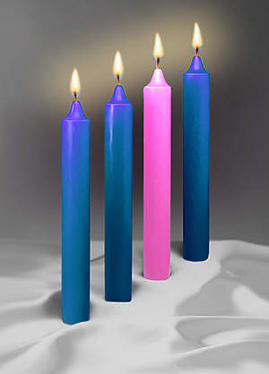 Advent 1 1/2X12 51% Beeswax 3 Blue 1 Rose Candle