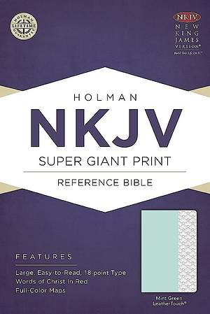 NKJV Super Giant Print Reference Bible, Mint Green Leathertouch